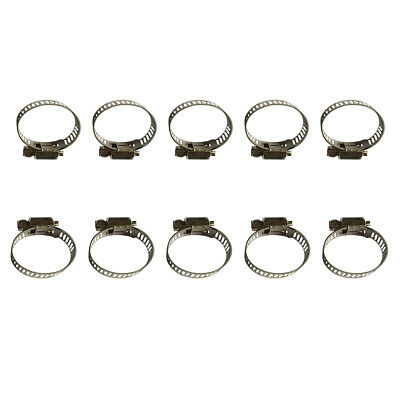 10 Pcs Stainless Steel Drive Hose Clamps Worm Clips Four Size