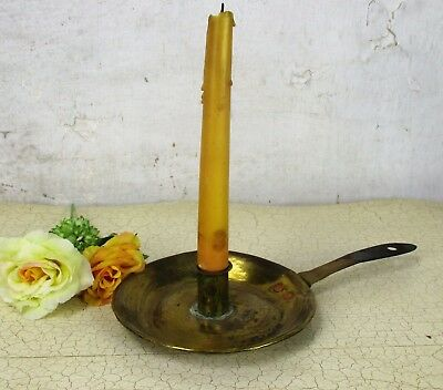 19th Century Antique Hand Hammered Brass Candle Holder Chamberstick  HTF