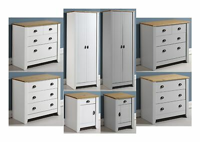 Seconique Ludlow Pine Bedroom Range - White or Grey - Wardrobe, Chests, Bedside