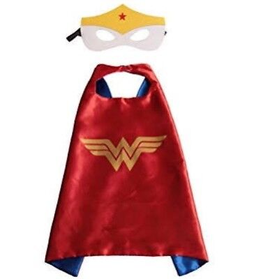 WONDER WOMAN White Superhero Costume Cape And Mask Party Set.