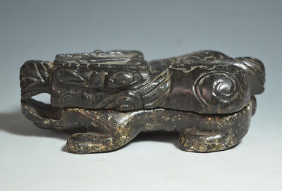 Unusual Chinese Ancient Jade Carved Animal Shaped Detachable Ink Box