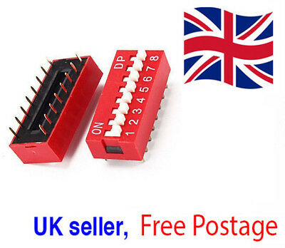 Slide Type Switch Module 2.54mm 8-Bit 8 Position Way DIP Red Pitch UK Seller
