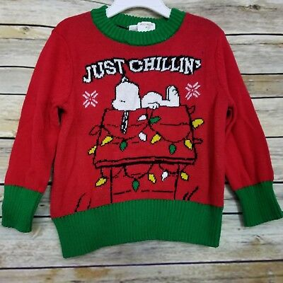Peanuts Holiday Snoopy Sweater 2T Just Chillin' Red Dog House Christmas Lights