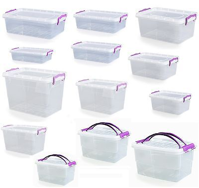 Small Medium Large Size Clip Handle Plastic Clear Storage Food Box Container