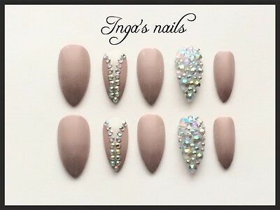 Hand painted mocha  with crystals  stiletto full cover false nails