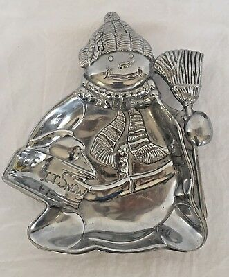 Lenox Christmas Yuletide Snowman LET IT SNOW Metal Candy Nut Tray