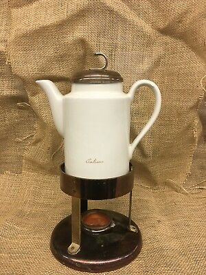 """Vintage Hall Coffee Server. White in color. Complete set. 12.5"""" tall."""