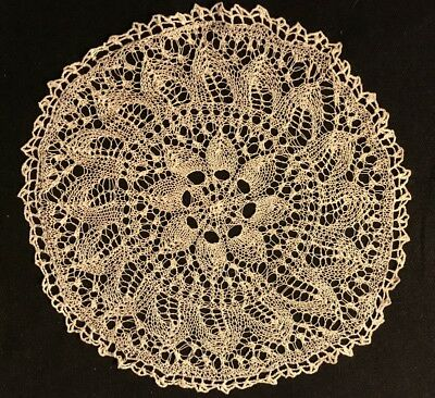 """Antique Off-white Hand knitted Round Lace Delicate Doily 7 1/2"""" Diameter,"""