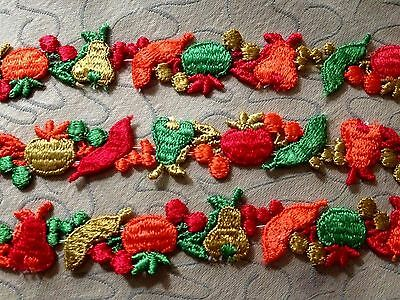 """Exceptional Colorful Fruits Embroidered Lace, Trim, Edging, Inserts 72"""" long #1"""