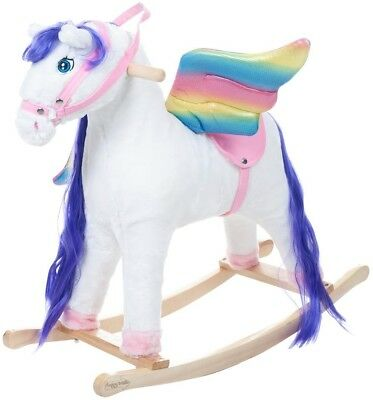 Plush Rocking Horse Pegasus Colorful Childs Indoor Toys Holiday Gifts Present