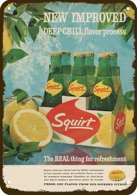 1964 SQUIRT SODA Vintage Look Replica Metal Sign - REAL THING FOR REFRESHMENT