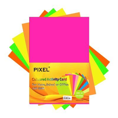 Pixel® Neon Colour Card for Home, School, Arts & Crafts (160GSM - 50 Sheets)
