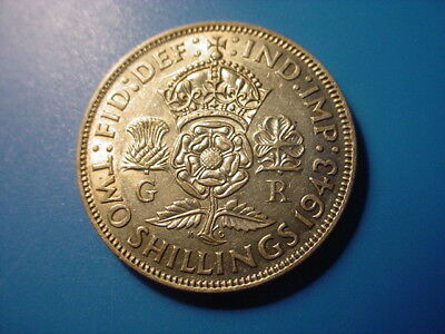 British - Silver - 1943 2-Shillings In Excellent Condition