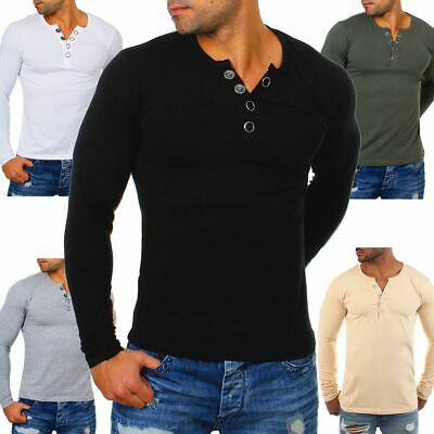 cheaper 04399 c40d9 YOUNG & RICH Herren Longsleeve langarm T-Shirt Knopfleiste big buttons  stretch