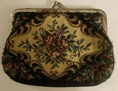 Vintage Black & Floral Embroidered Coin Purse Good Condition No Flaws or Defects