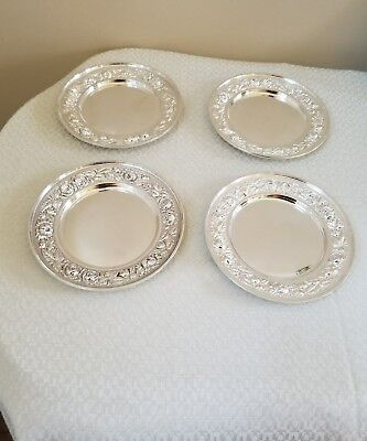 Set Of Four Stieff Rose Sterling Silver Bread Plates No Mono