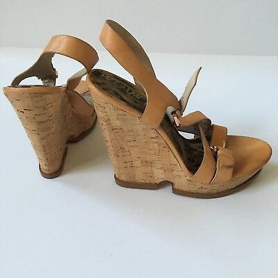fab6e22bd76c Sam Edelman Josie Sandals Tan Leather Cork Platform Wedges Strappy Sz 8.5