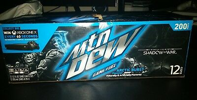 2017 Mountain Dew Game Fuel Arctic Brust SOW 12 pack cans Limited Edition
