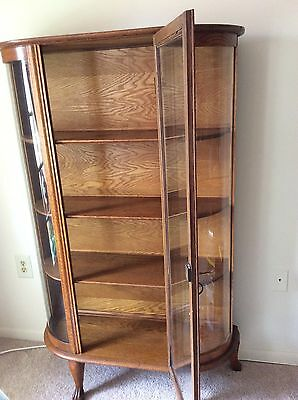 Antique Oak Wood & Glass Side Curved China Cabinet, Curio, Plates Display, Key