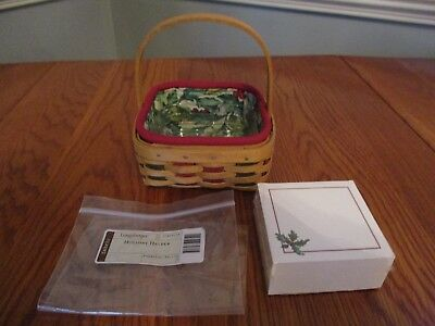 Longaberger 2003 Holiday Helper Note Pad Basket w NotePad Holly Liner Protector