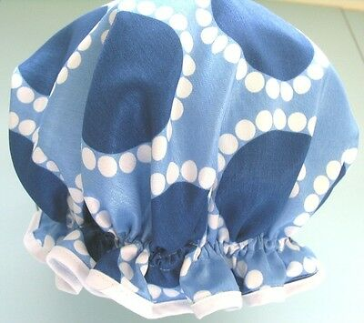 designer QUALITY SHOWER CAP FAUX SILK BLUE  WHITE CIRCLES water proof