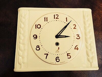 Vintage French Wall Clock Jaz Made in France Porcelain BEAUTIFUL With KEY