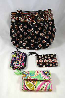Vera Bradley LOT of 4 Items Purse Tri Fold Wallet Two Small Bags Assorted