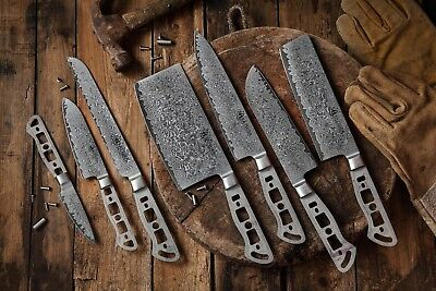 KATSURA Japanese Damascus AUS 10 woodworker Chef knife kit blank Set, 7pcs