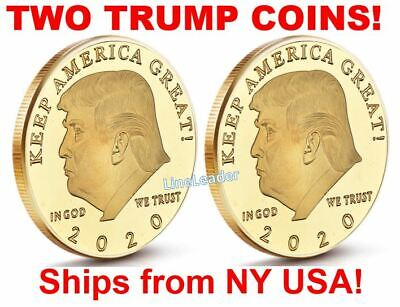 🔥 2020 President Donald Trump 24k Gold Plated EAGLE Coins - SET OF TWO!! 🔥