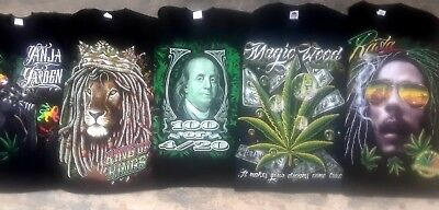 Wholesale LOT of 15 new 4:20 / rasta theme tees. Large screened prints.