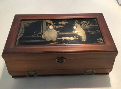 Vintage Asian Chinese Oriental Wooden Jade Possibly soapstone Inlay Jewelry Box