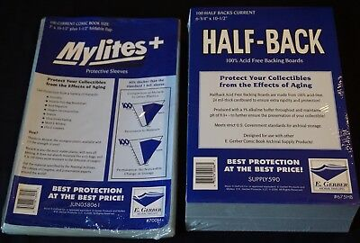 100 - GERBER HALF-BACKs & MYLITES+ CURRENT Comic Mylar Bags & Boards 675HB/700M+