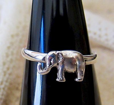 TOE RING STERLING SILVER 925 LUCKY ELEPHANT ADJUST FOOT womens girl midi knuckle