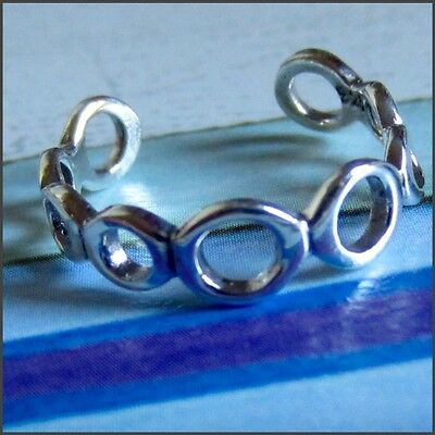 TOE RING STERLING SILVER 925 ADJUSTABLE SOLID BAND beach surf womens midi new