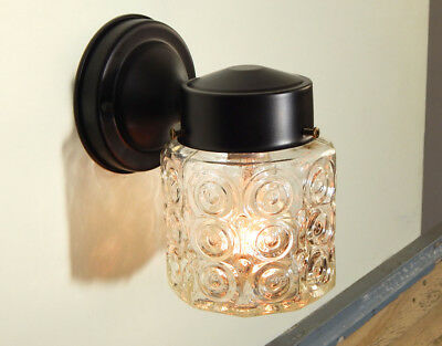 Mid Century Porch Light Sconce Vintage Glass Shade New Black Fixture