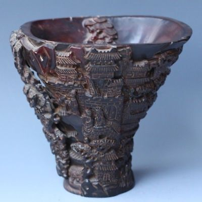 Chinese Exquisite Hand-carved landscape character carving OX horns cup