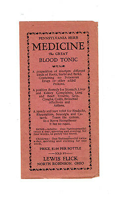 "Vintage Medicine Label: LEWIS FLICK - NORTH ROBINSON, Ohio ""Bucyrus-Galion"""