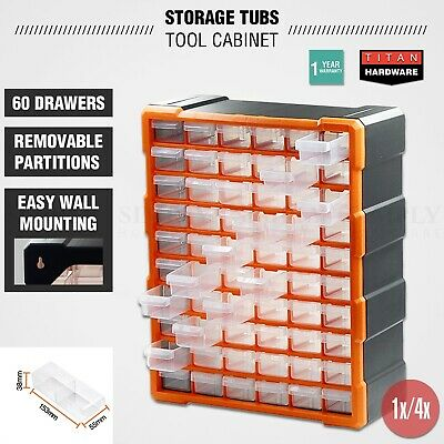 Plastic Storage Tubs Cabinet 60-240 Drawers Tool Box Bin Chest Shelf Organiser