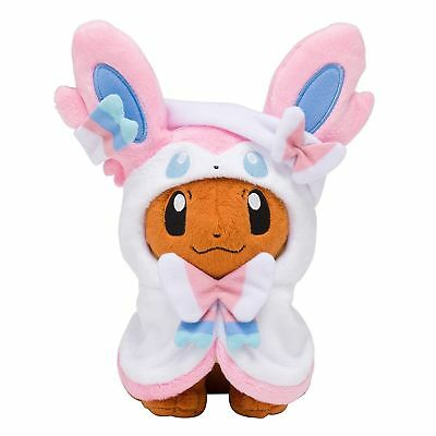 Pokemon Center Eevee Poncho Sylveon Nymphia Plush Doll Soft Figure Toy Gift 7""
