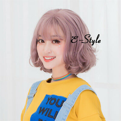 Daily Lolita Pink Purple 35CM Short Curly Hair Cosplay Wig Heat Resistant+Cap
