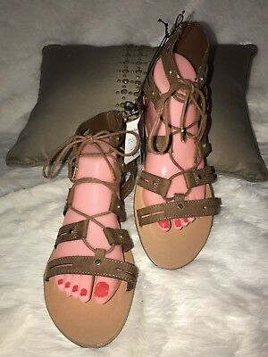 1f398dfb30d DV By Dolce Vita Women Brown Gracelyn Lace Up Gladiator Flat Sandals Sz 10  NWT
