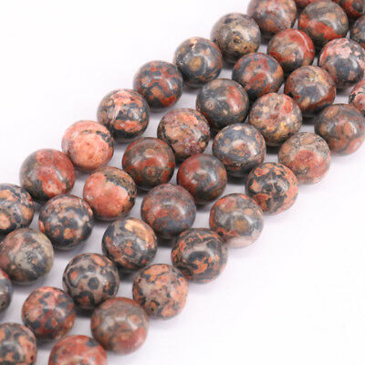 """Lots 15"""" Leopard Fur Jasper Stone Round Loose Spacer Beads Jewelry Making 4-10MM"""