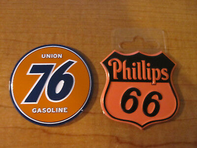 (2) Phillips 66 Gas Oil & UNION 76 GASOLINE Metal Toolbox Mancave Magnets