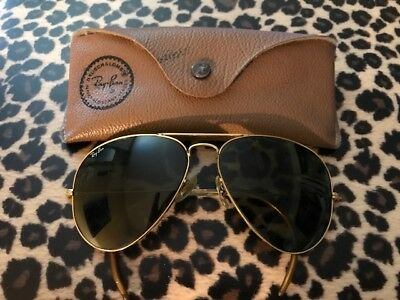 Vintage B&L Bausch & Lomb Ray Ban Aviator Shooter Sunglasses With Case