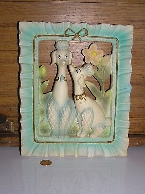 vintage Napcoware chalkware 3D plaster wall plaque with Poodle dogs