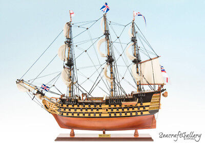 NEW HMS VICTORY PAINTED WOODEN MODEL TALL SHIP BOAT GIFT DECORATION 75cm