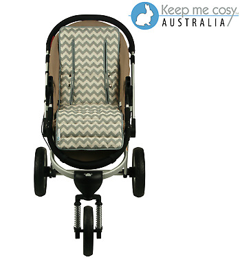 Keep Me Cosy™  Pram Liner Universal fit Reversible, cotton - Grey Chevron design