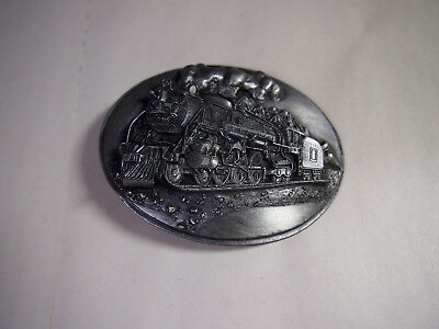 Railroad Train  Pewter With Enamel Oval Belt Buckle Vintage Siskiyou Belt Co H8
