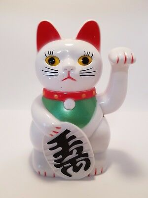 "White Waving Money Cat (Maneki Neko) 130mm ""Good Luck"" (Post or Local Pickup)"