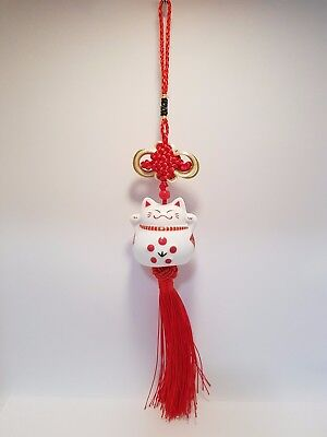 """Good Luck Cat""(Maneki Neko) Ceramic Hang White/Red 320mm (Post or Local Pickup)"